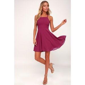 LuLu's Magenta Good Deeds Lace Up Dress Size XL